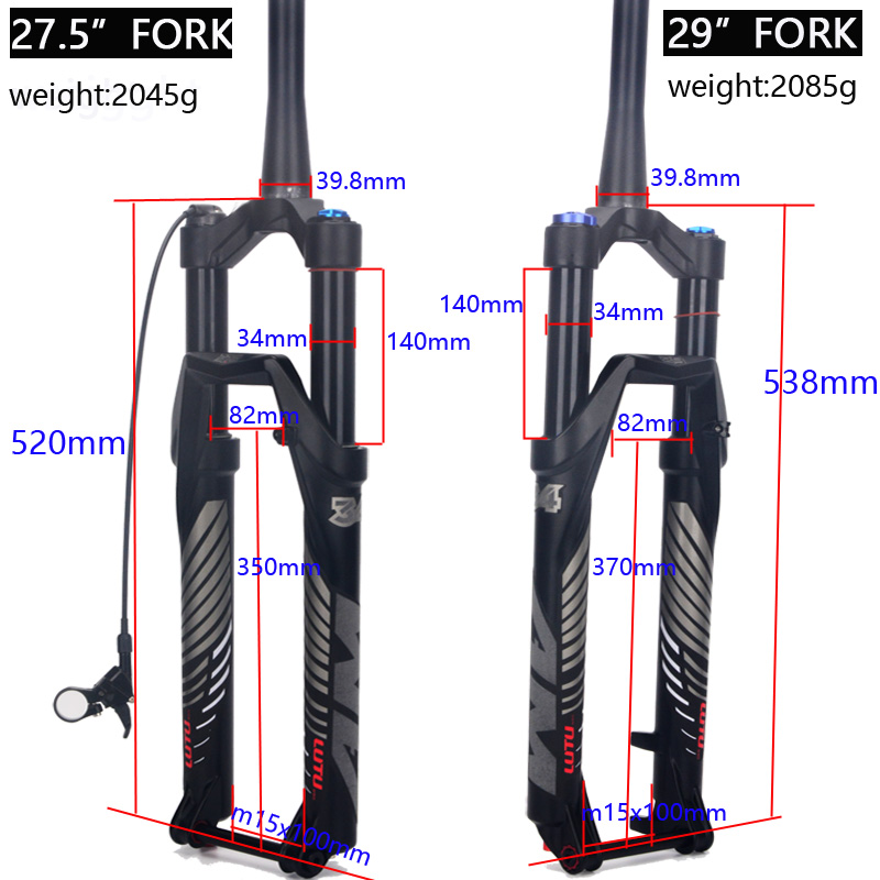 Alloy MTB Bicycle Fork Supension Air 26 27 5 29er Inch Mountain Bike 34 RL140mm Fork