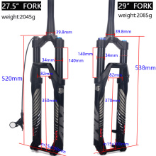 лучшая цена Alloy MTB Bicycle Fork Supension Air 26/27.5/ 29er Inch Mountain Bike 34 RL140mm Fork For A Bicycle Accessories
