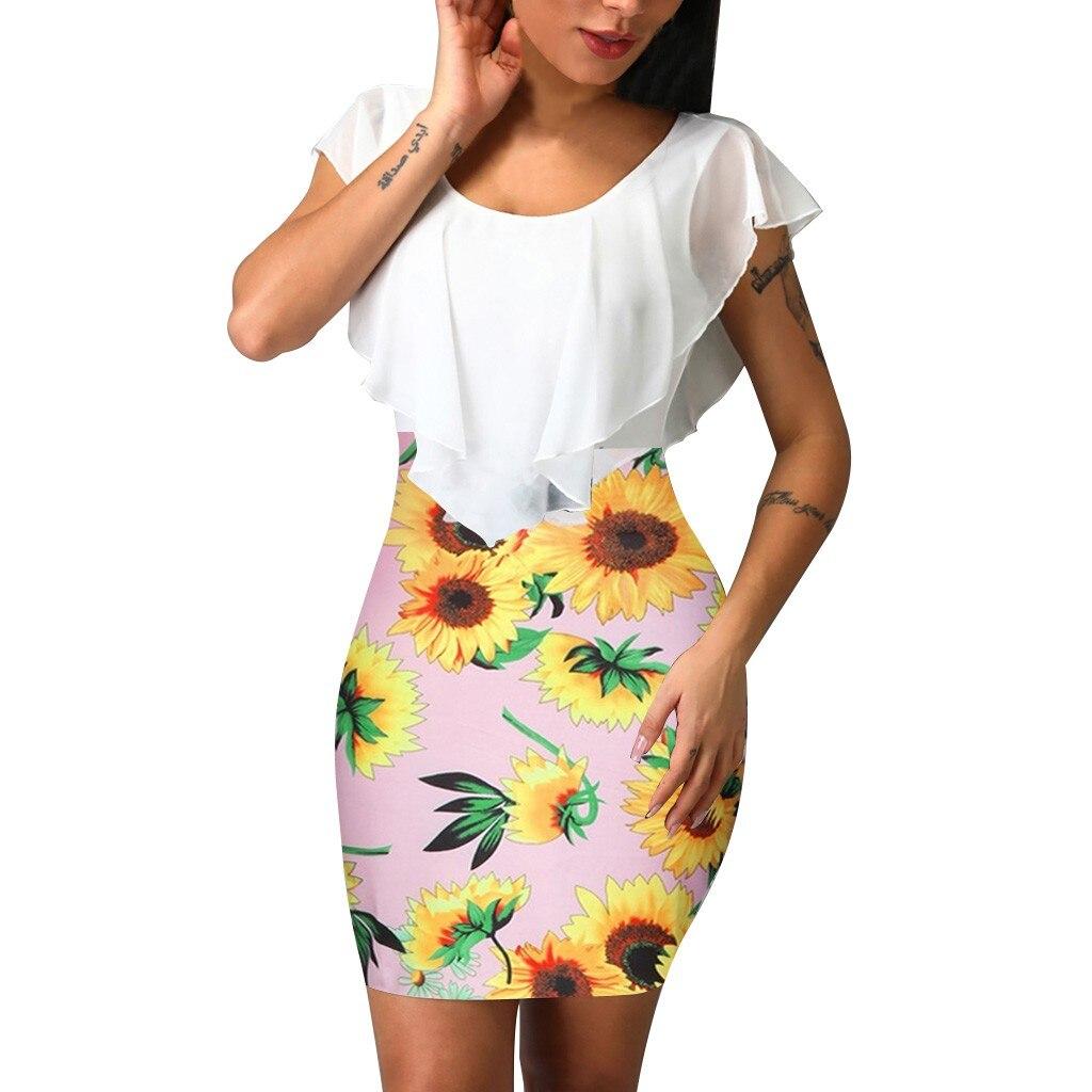 HTB1GXtjV6TpK1RjSZKPq6y3UpXaL Sexy Womens Sunflower Summer Bodycon Dress Sleeveless Printed Holiday Party Short Mini Dresses Ruffle Summer Dress 2019 Vestido