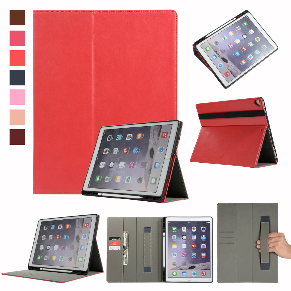 Cowhide Leather Magnet Smart Case Stand Hand Strap Pencil Card Holder Cover Funda For Apple iPad Pro 12.9 2017 2015 +Film +Pen for ipad pro 12 9 2017 2015 smart tablet case cover high quality genuine leather pu folding stand case card slots pencil holder