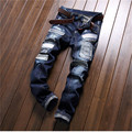 2016 new big jeans male star with a high-end personalized cloth stitching Slim small straight pants