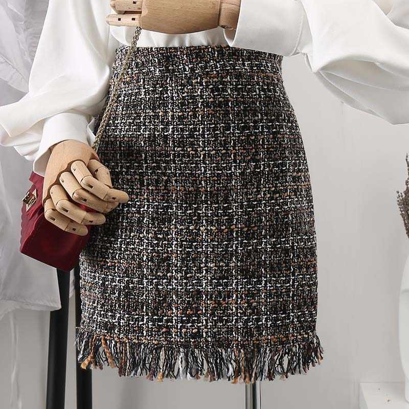ff272583b6 2019 Spring Autumn Tassel Mini Tweed Skirt Women Slim A-line High Waist  Fashion Short