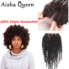 Brazilian Kinky Curly Hair Top Lace Closure Home Stuck Cosplay Virgin Kinky Curly Hair With Closure Size 4×4 Cheap Free Shipping