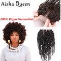 Kinky curly brasileiro cabelo top lace closure casa preso cosplay virgem Kinky Curly Cabelo Com Encerramento Tamanho 4x4 Baratos Free grátis