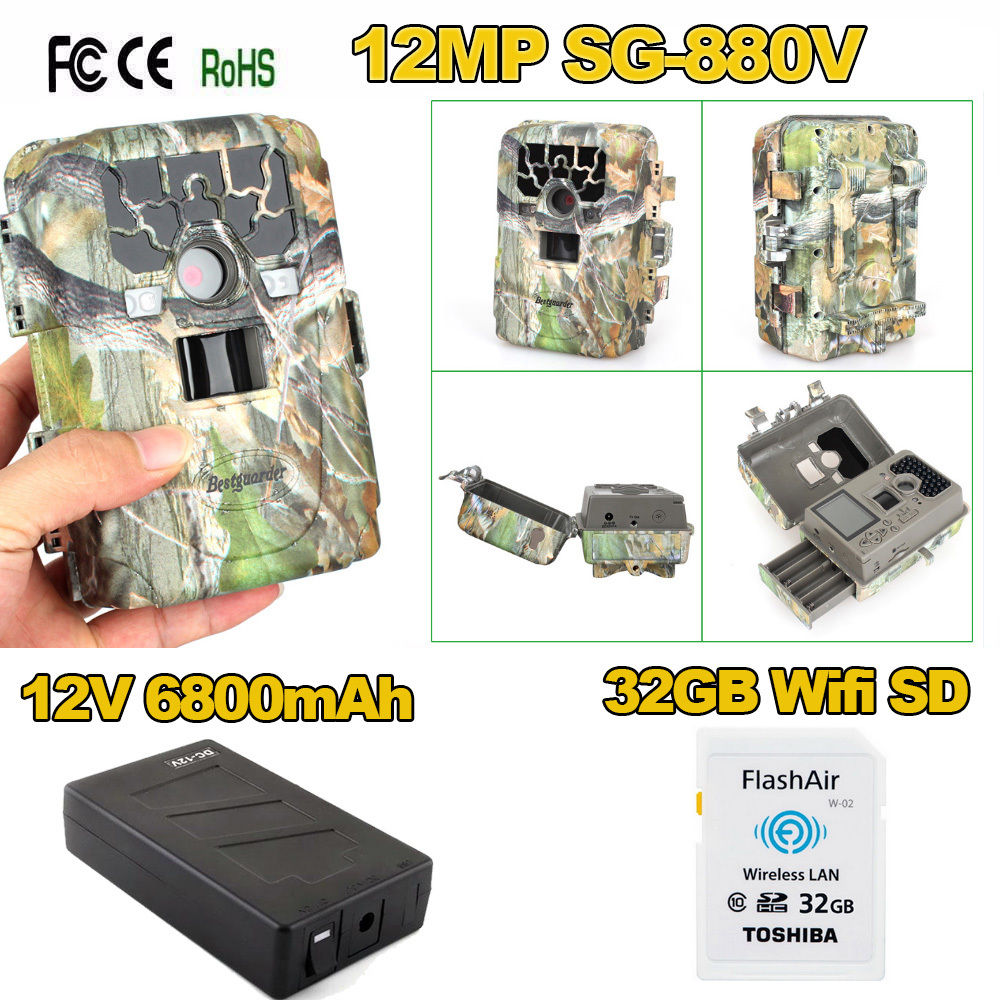 Bestguarder 32GB Wifi SD+12MP Infrared Digital Trail Game Hunting Camera+6800mAh Battery Outdoor Wildlife Photo Trap Waterproof bestguarder sy 007 360 degree wireless hunting trail