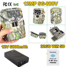 Free shipping!32GB Wifi SD+12MP Infrared IR Digital Trail Game Hunting Camera+6800mAh Battery