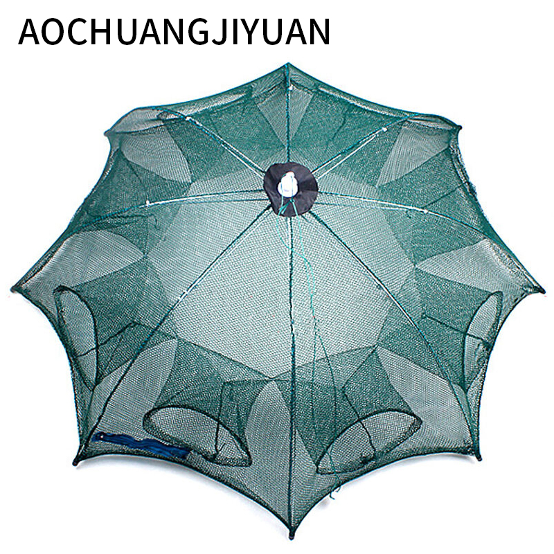 Folded Portable Hexagon 4/6/8/10 Hole Automatic Fishing Shrimp Trap Fishing Net Fish Shrimp Minnow Crab Baits Cast Mesh Trap