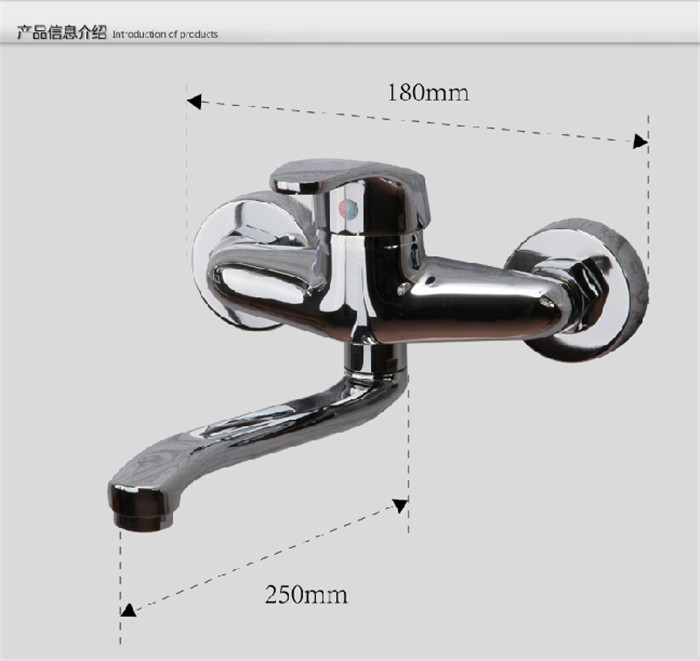 Free shipping in wall mounted kitchen faucet single handle dual holes sink faucet sink mixer chrome