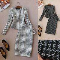 2 piece set women autumn and winter new female long sleeved professional suit tweed jacket high waist woolen skirt suit