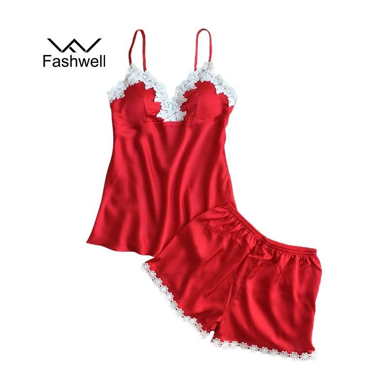 Fashwell New Summer Sexy Sling Strap Pajamas Women Silk Belt Removable Chest Pad Pajamas Shorts Two Sets