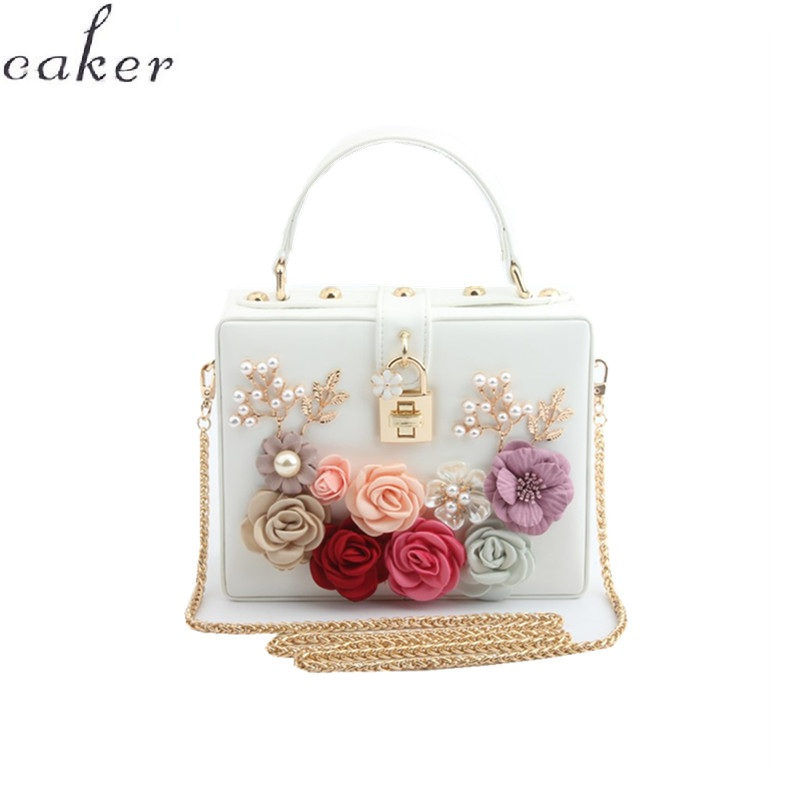 Caker Brand 2018 Women Square Handbag Fashion Beaded Flower PU Leather Shoulder Bags Pink White Red Black Blue Chain Bags