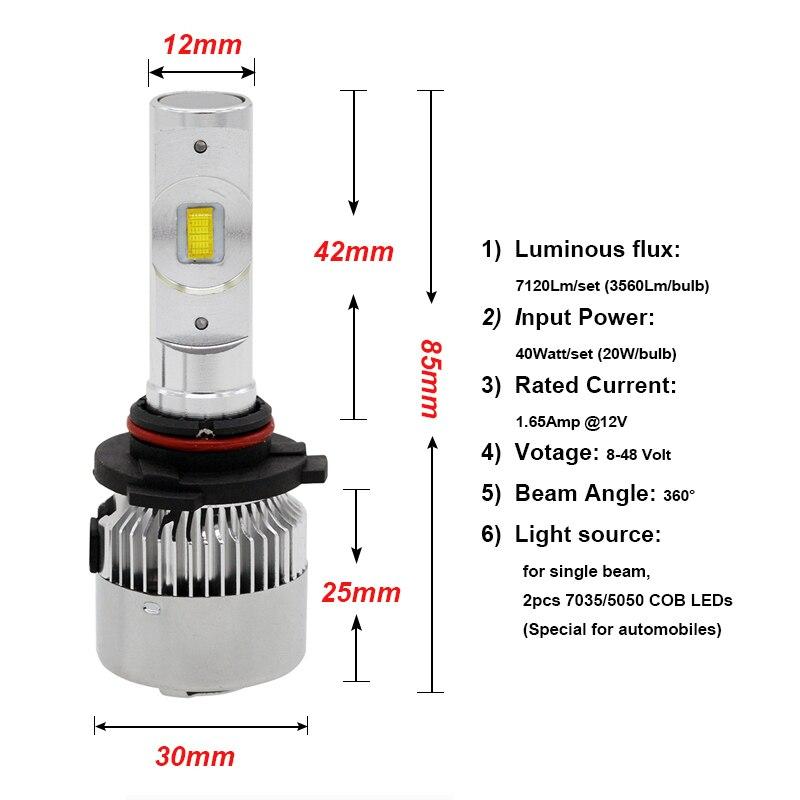 Sunkia фар автомобиля светодиодный лампы 9005/HB3 9006/HB4 авто лампы высокого люмен 40 Вт 6500 К туман свет 12 В-24 В встроенный вентилятор охлаждения