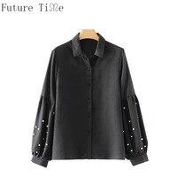Future Time Women Long Sleeve Black Solid Pearl Blouse Autumn Female Casual Oversize Sweet Shirt Feminine