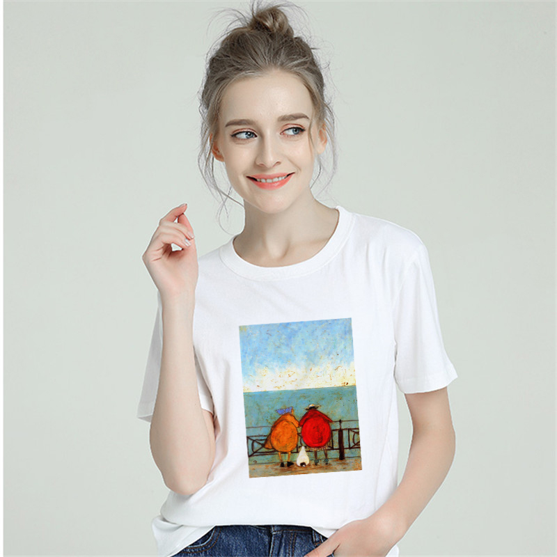 Funny Cotton Tshirt Women 2019 Harajuku Aesthetic Happy Family Sexy T Shirt Top Tees Short Sleeve Femme T-Shirt Modis Streetwear