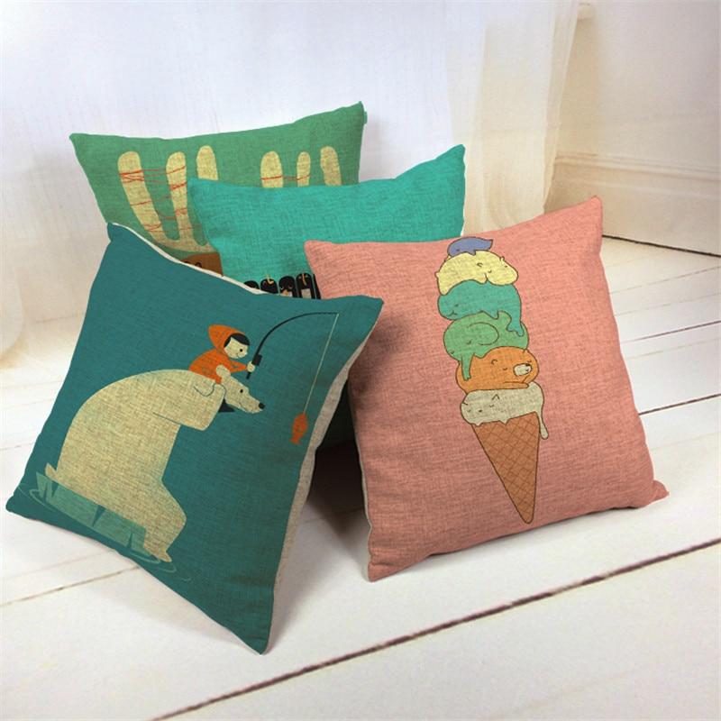Deer Polar Bear Cushion Covers Summer Animal Pillow Cases European Gamer Chair Gift Yellow Blue Throw Pillows Small Cotton Blend