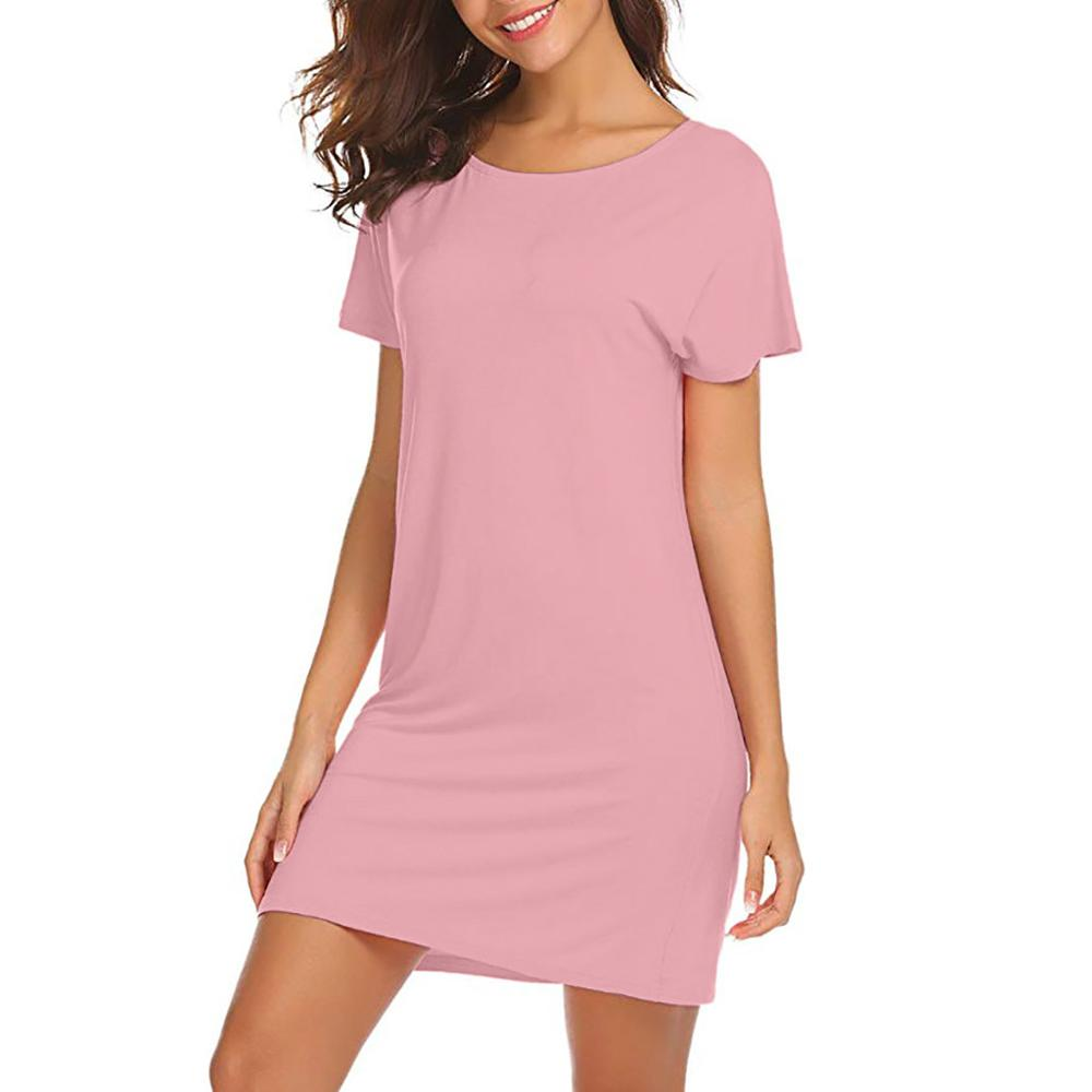 dccde08ac6198 feitong Summer Dress Women Beach Casual Dress New Arrival O Neck Short  Sleeve Loose Back Hollow Out Simple Dress vestido