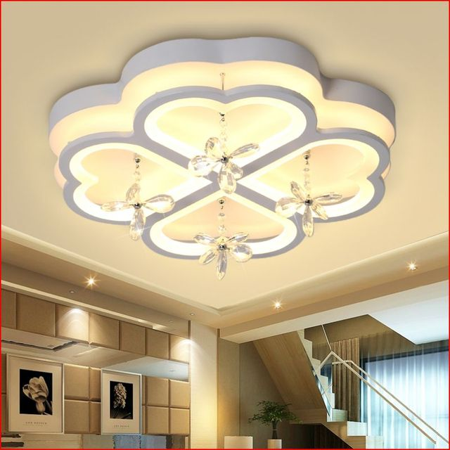 Hot Led Crystal Light Modern Simple Living Room Bedroom Study Ceiling Lamp Four Leaf Lighting Lu726253