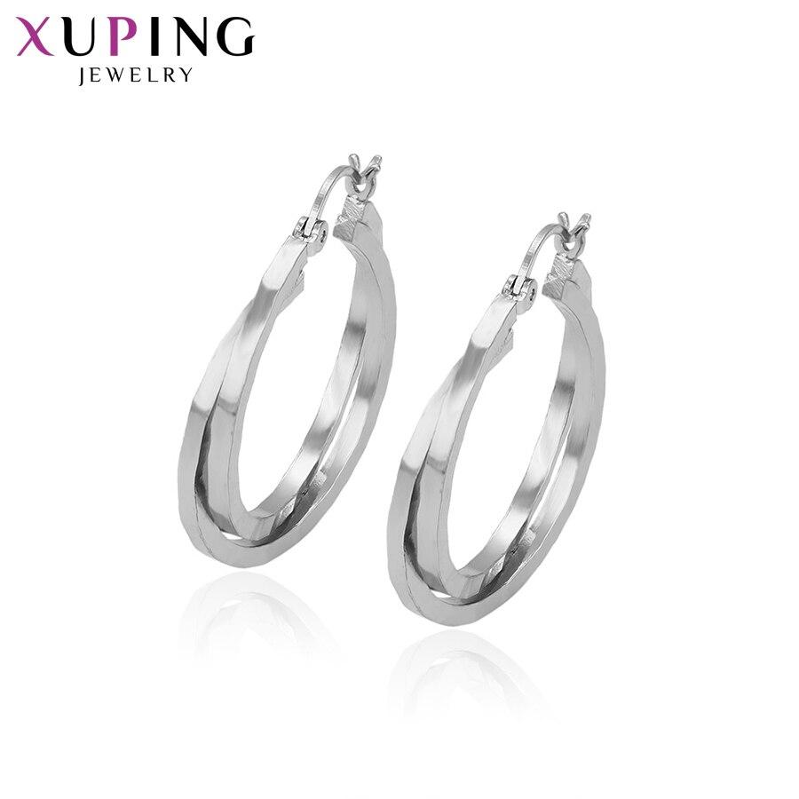 100% QualitäT Xuping Schmuck Mode Temperament Runde Design Rhodium Überzogene Ohrringe Für Frauen Thanksgiving Geschenke S58.3-93251
