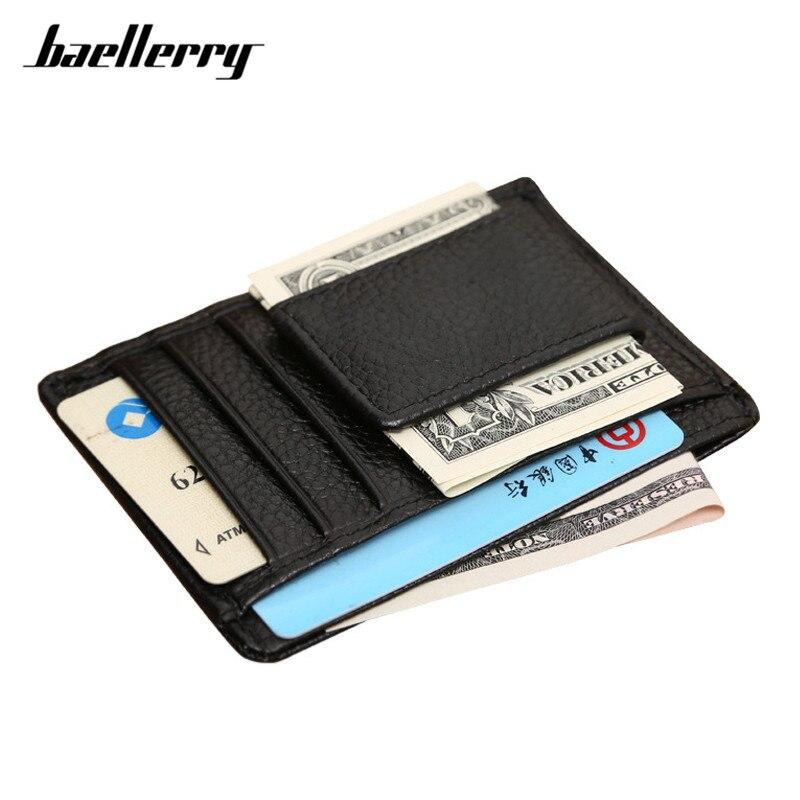 Baellerry Rfid 100% Kuh Echtes Leder Männer Geld Clips Brieftasche Magnet Clamp Casual Kleine Karte Brieftasche Männlichen Kreditkarte Hält