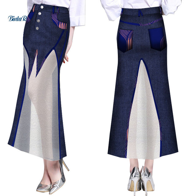 Fashion Women Lace Cowboy Long Skirts Bazin Riche African Print Patchwork Skirts Dashiki Plus Size African Design Clothing WY285