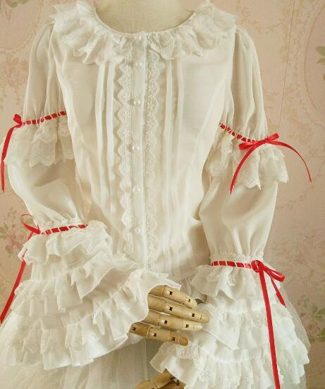 LOLITA blouse bud silk chiffon unlined upper garment of cultivate ones original design