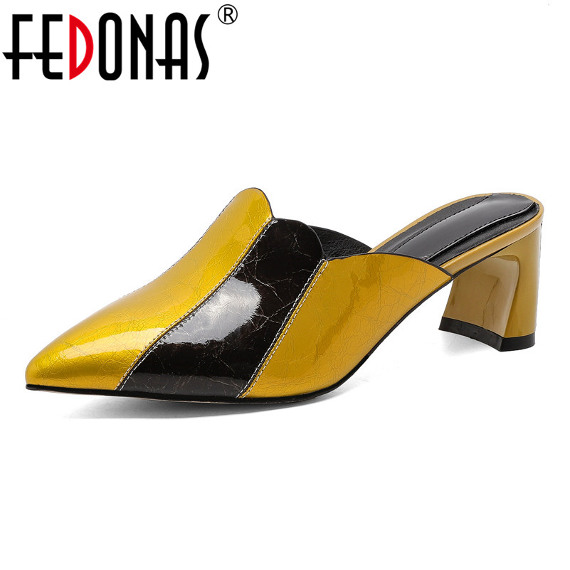 FEDONAS 2019 Brand New Fashion Spring Summer Women Pumps Mixed Colors High Heels Pointed Toe Shoes Woman Party Prom Single Shoes