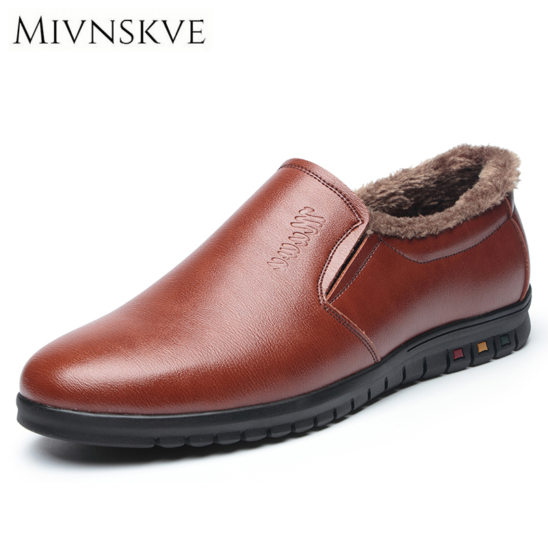 MIVNSKVE Brand 2017 New Men Loafers Fashion Quality Winter Plush Keep Warm Men's Flats Shoes With Fur Comfort Man Casual Shoes irit ir 3307