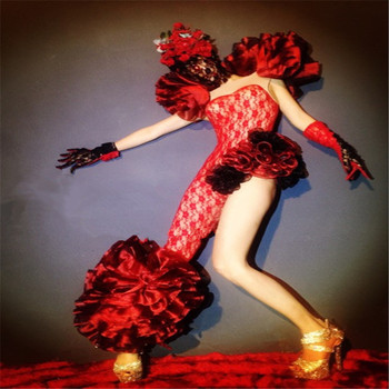 EC42 czerwone kwiaty do tańca towarzyskiego kostiumy do tańca sexy dj etap pokaż nosi kombinezon party body wydajność ubrać piosenkarka kapelusz derby ds