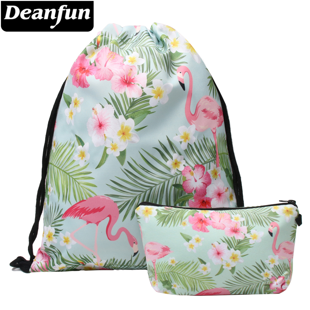 Deanfun Flamingo Drawstring Bag Set 3D Printed Beach Travel For Women 017