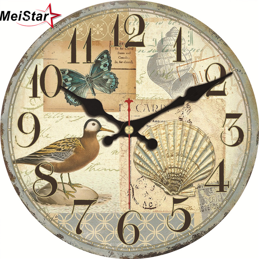 MEISTAR Nature Scenery Wall Clocks Flower Magpie Design Fashion Silent Living Study Office Room Decorative Art Wall Clocks 2018 in Wall Clocks from Home Garden