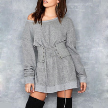 2017 Fashion Knitted Dress Women Long Sleeve Sashes Bodycon Stretch Sweater Dress Casual Party Mini Autumn Winter Dress Vestidos