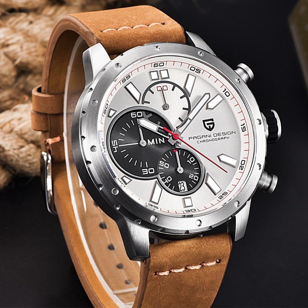 ФОТО Luxury Brand chronograph sport men's watches Waterproof 30M Genuine Leather Strap fashion outdoor quartz watch PAGANI DESIGN