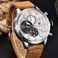 Marca de luxo cronógrafo dos homens do esporte relógios À Prova D' Água 30 M Pulseira de Couro Genuíno de moda ao ar livre relógio de quartzo PAGANI PROJETO