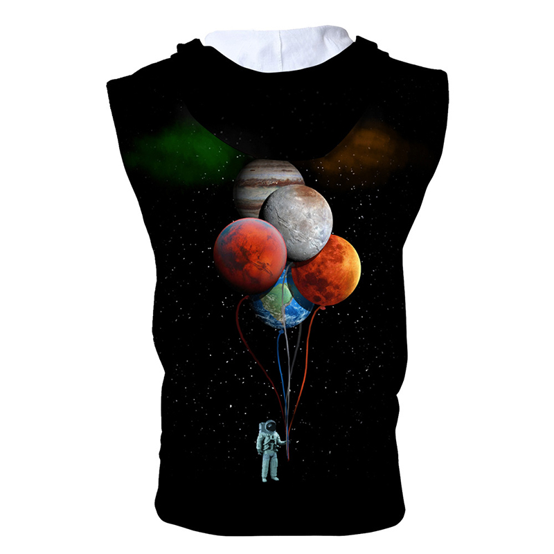 DropShipping New Vest Jackets 3D Printing Astronaut Balloon Zip Hooded Sleeveless Fashion Casual Sweatshirt For Men Women Tops