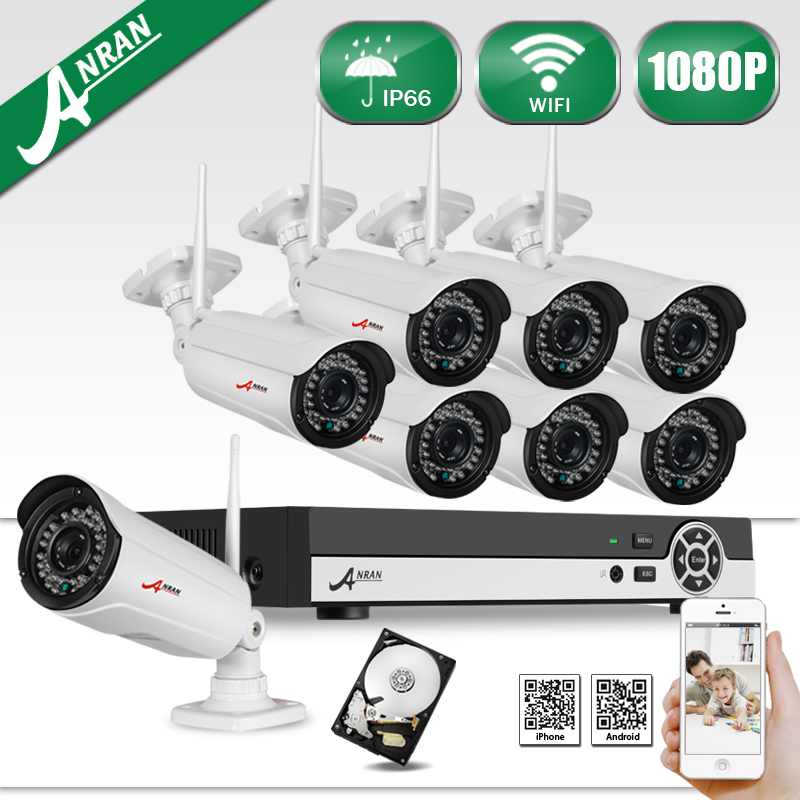Digital Varifocal Zoom 3-10mm Lens Audio Input 2MP Wireless WIFI Network IP Camera 1080P Onvif 8CH H.264 NVR CCTV System 3TB HDD