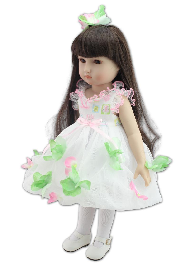 18 Inch/45 cm Soft  Girl Dolls AMERICAN PRINCESS Doll with flower Dress,Cute Lifelike reborn Baby Toys for Children Gift very cute red flower princess soft baby shoes for girl baby shoe 3 size to choose