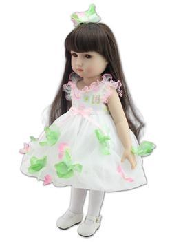 18 Inch/45 cm Soft  Girl Dolls AMERICAN PRINCESS Doll with flower Dress,Cute Lifelike reborn Baby Toys for Children Gift