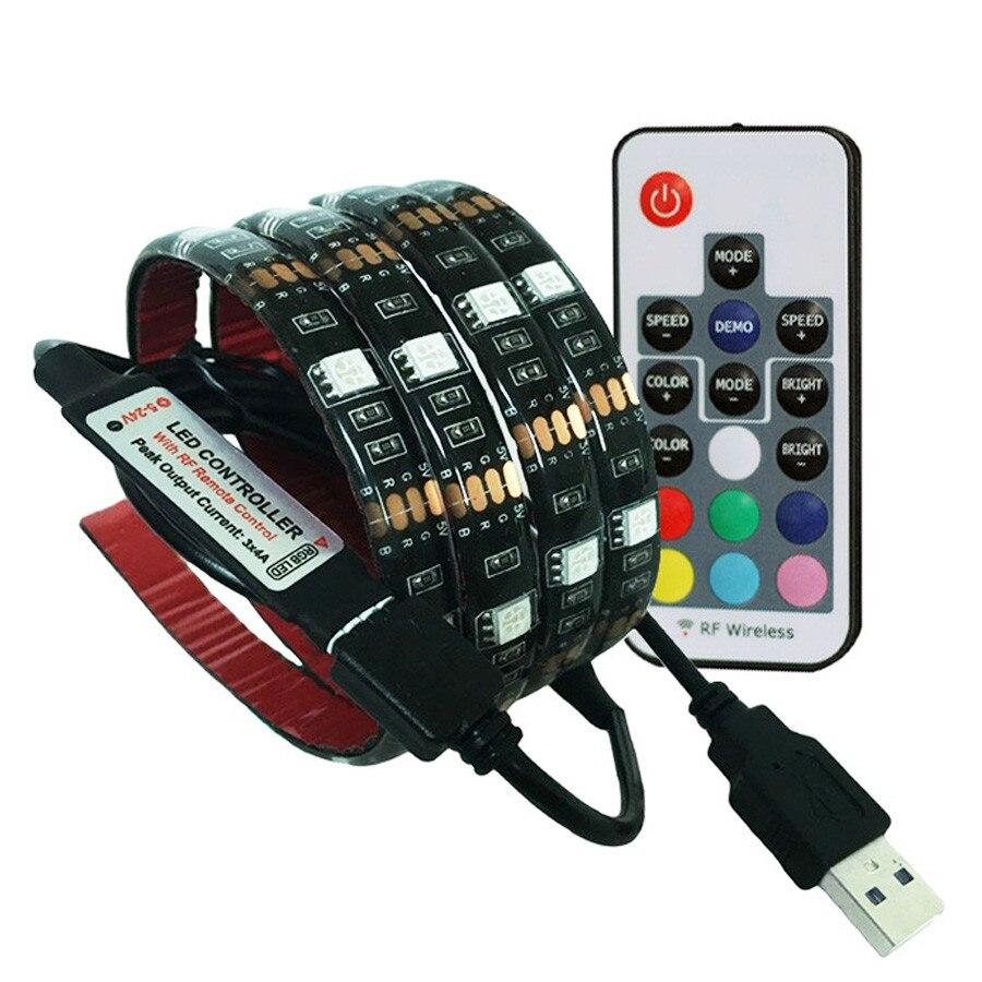 5 V Smd 5050 Led Tira Usb Cinta De La Lámpara Rgb Retroiluminación Tv Usb Led Tira De Lámpara Impermeable 5 V 60led /m 1/m Rgb Con 3 17 Control Remoto Agradable Al Paladar