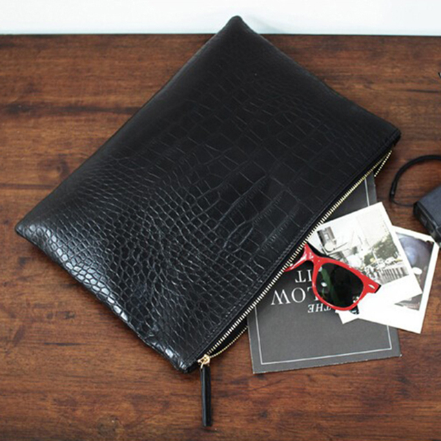 Textured Patent Leather Envelope Bag