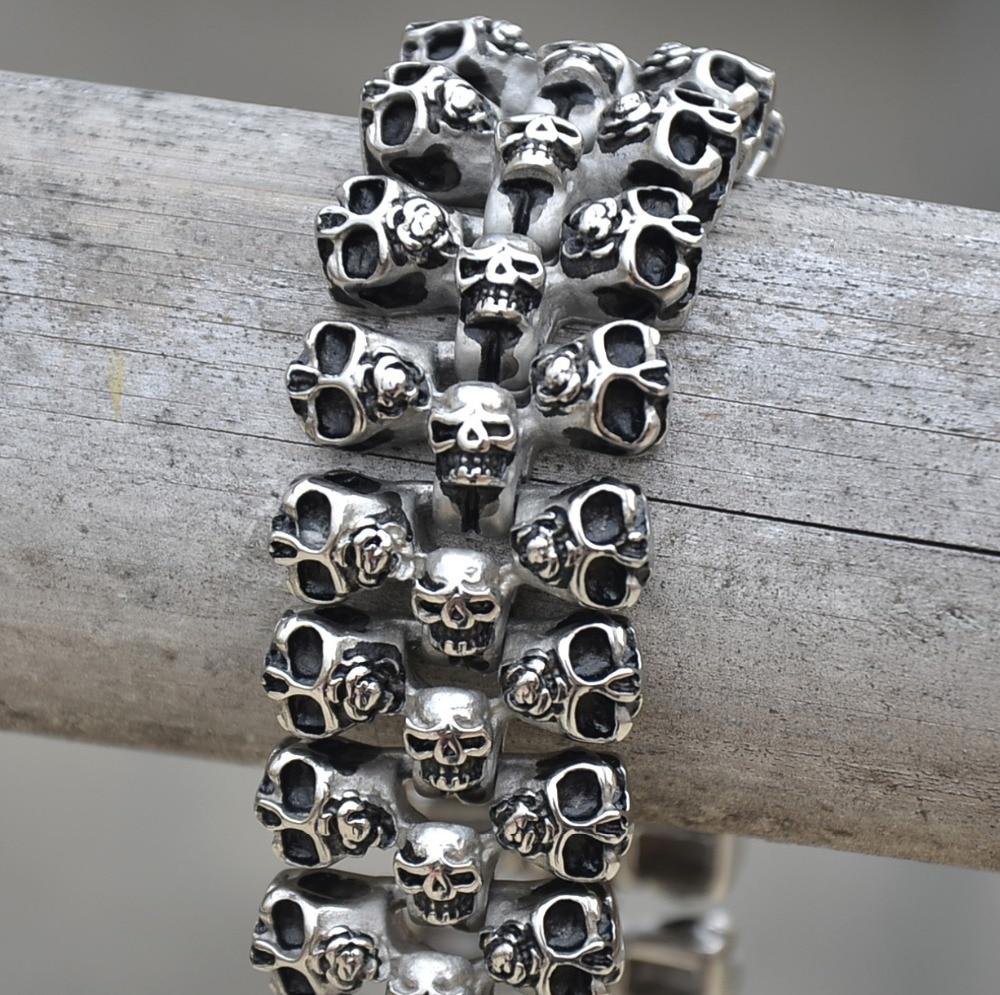 En acier inoxydable personnalité crâne bracelet hommes titanium acier crâne bijoux GABOR NAGY BIJOUX amoureux le meilleur cadeau
