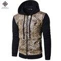 2016 Homens Da Moda Leopard Casacos Casacos Cardigans Sportswear dos homens Moda Casual Slim Fit Outono Primavera Jaqueta Jaqueta Masculina