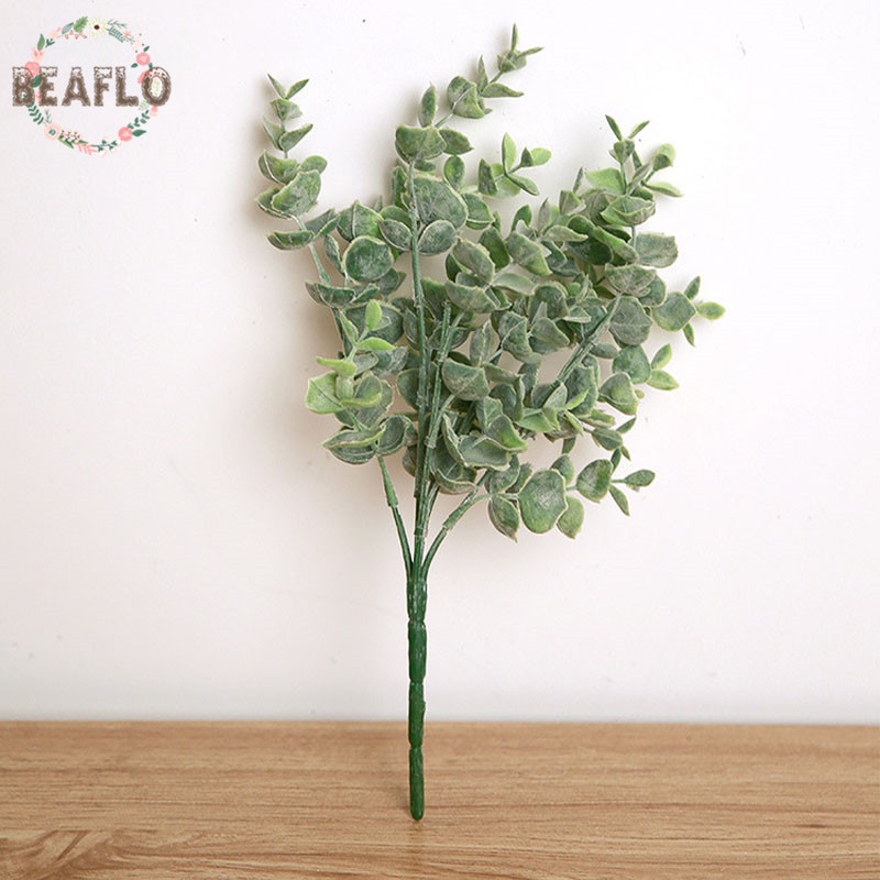 1PC Plastic Leaves Artificial Plant For Wedding Decoration DIY Wreath Flower Arranging Accessories 2 Colours