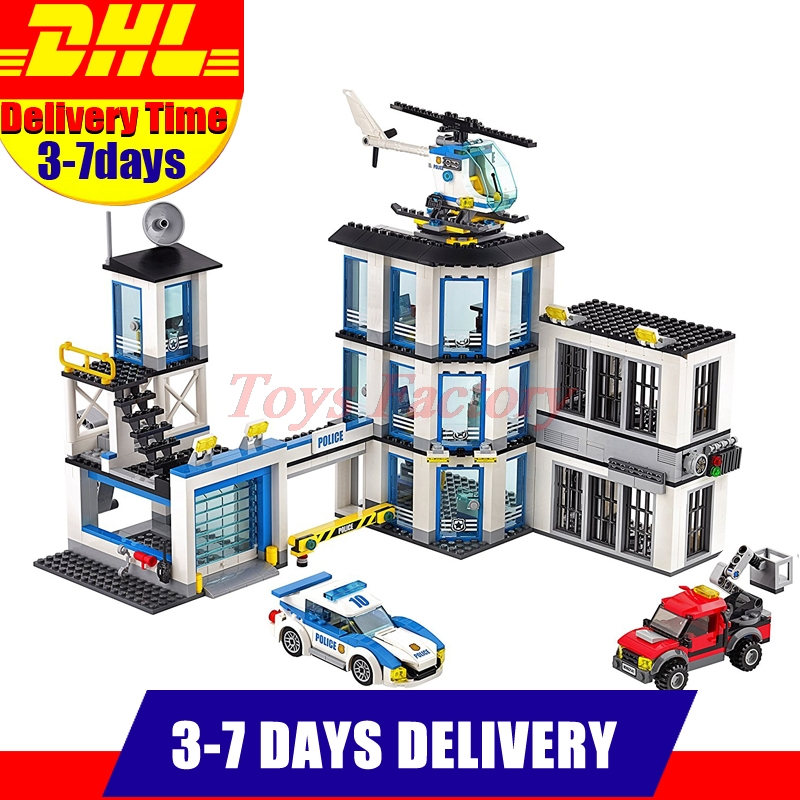 Clone 60141 DHL LEPIN 02020 965Pcs City Series The New Police Station Set Model Building Kit Set Blocks Bricks Children Toy Gift 02020 lepin new city series the new police station set children educational model building blocks bricks diy toys kid gift 60141