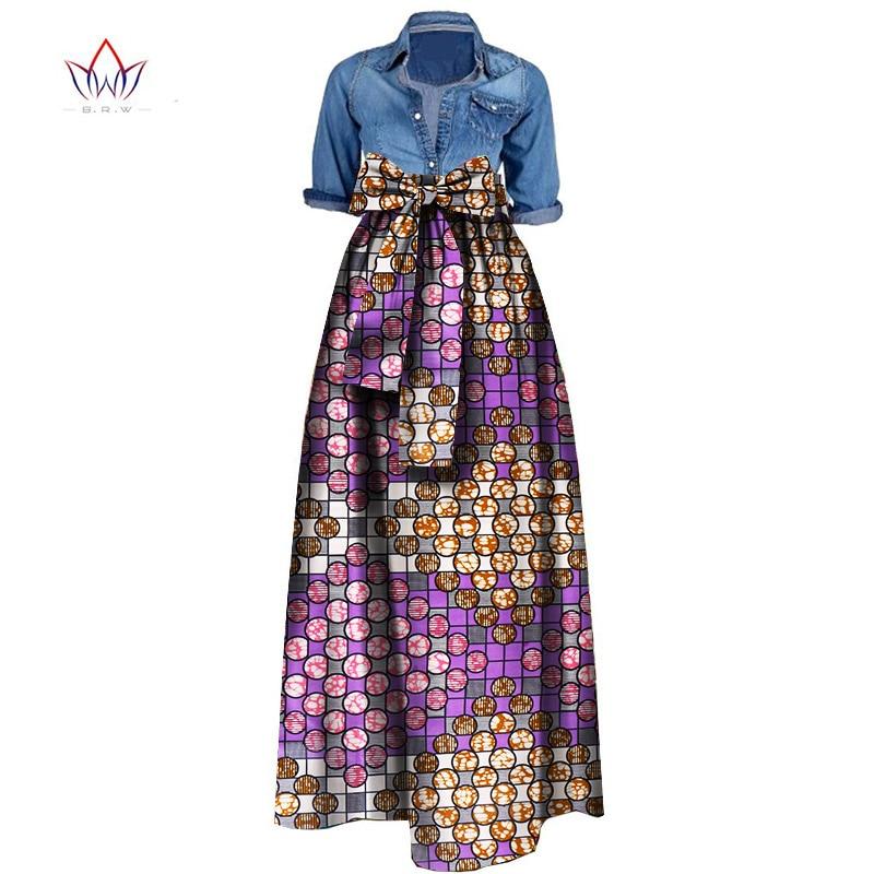 Summer Woman Long Maxi Skirt for Women African Dashiki for women Bazin riche robe longue femme Plus Size Skirt natural wy1036