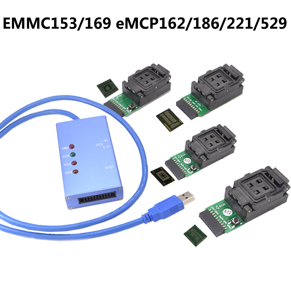 Universal test socket EMMC153 169 eMCP162 186 221 529 support many different eMMC emcp chips font