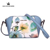 DAVIDJONES SPRING Floral Ptint Bags Women Shoulder Bag Soft Handbag Lady Saddle Bag Preppy Style Ptinting
