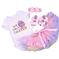 Birthday Baby Set Summer Short Sleeve Roupas Infantis Bebes Easter Festival Outfit+Tutu Pettiskirt Dress Party Clothing Sets