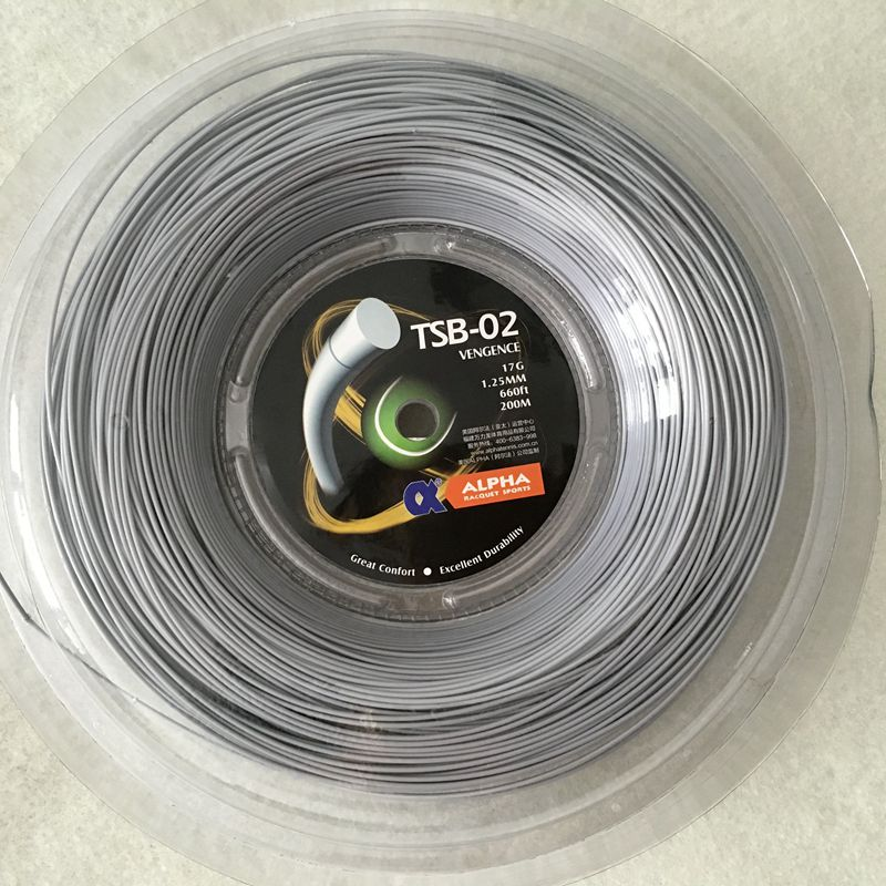 Free shipping TSB-02 1.25mm / 1.30MM Vengeance String Reel Black (Polyester Strings-200m / reel) tenis string
