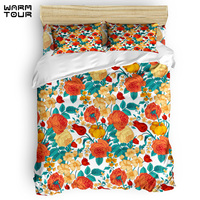 WARMTOUR Duvet Cover Vintage flower garden Duvet Cover Set 4 Piece Bedding Set For Beds