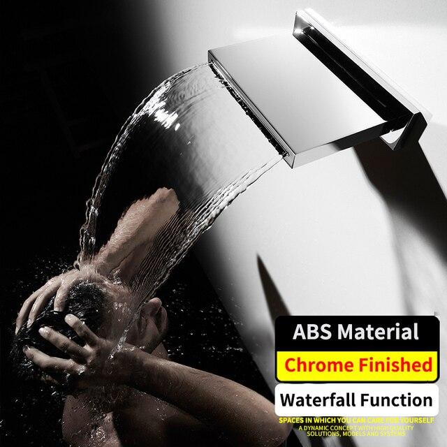 Bathroom Waterfall Shower Heads ABS Plastic Big Water Showerhead Wall Mounted Chrome  200*130mm Showers Square Shape